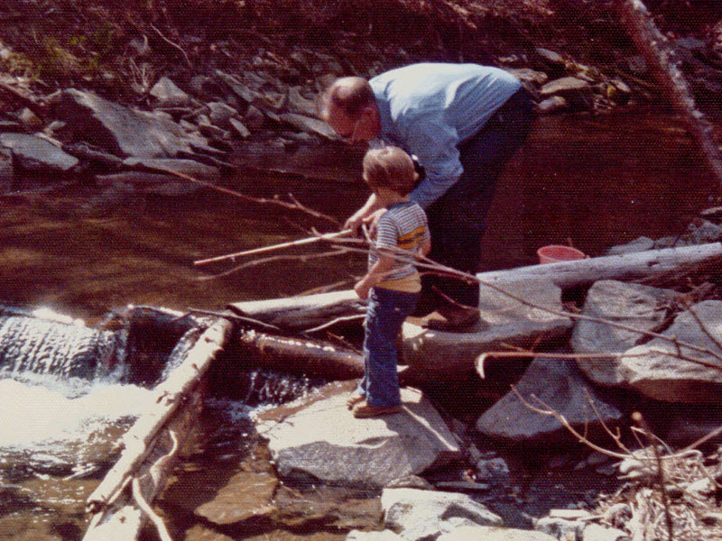 Poppa at what I think is Blue Mountain Lake with my younger brother.