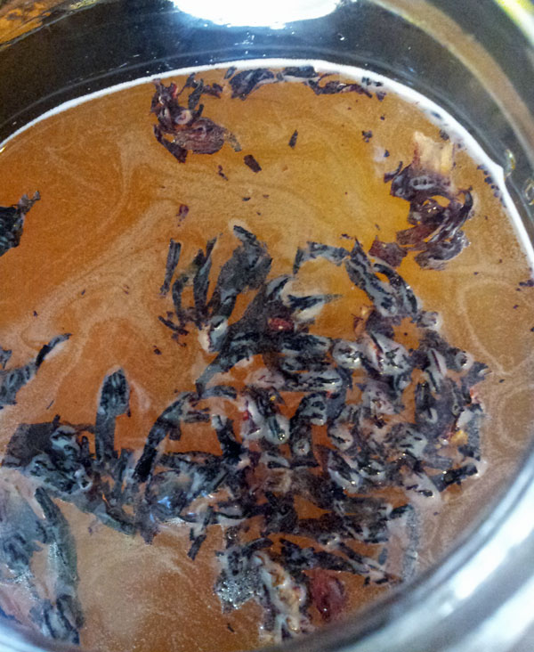 This is a little fancier. Hibiscus in Oolong tea.